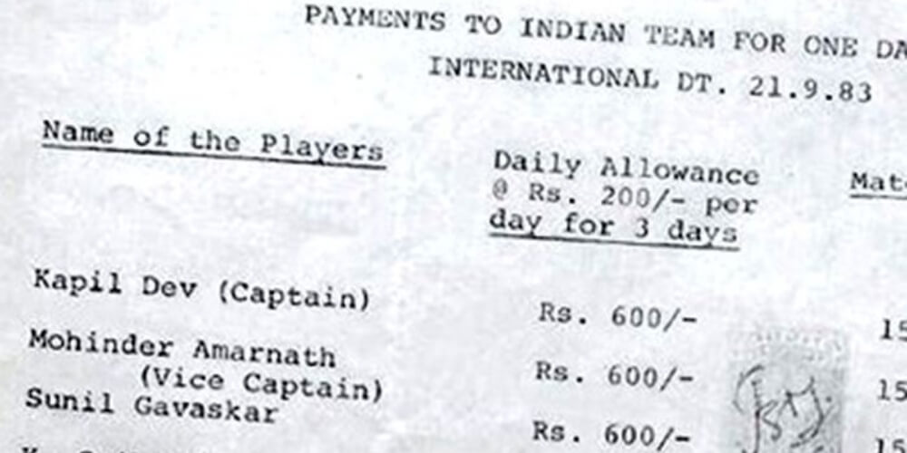 And that was the Salary of 1983's Indian Cricket Team