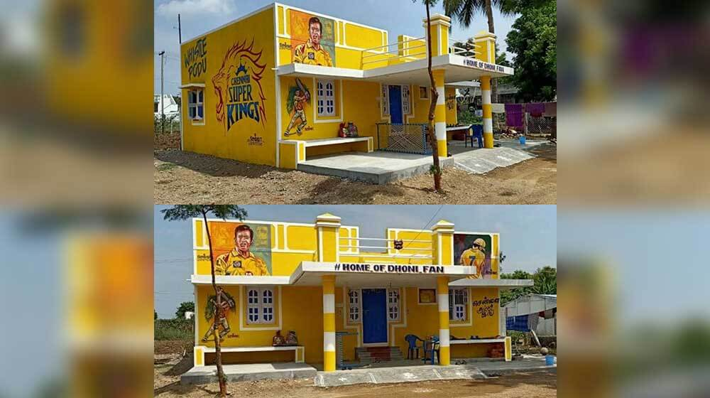 MS Dhoni's Tamil fan paints his house in CSK's yellow colour
