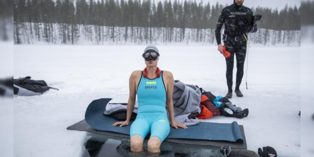 Finnish Ice Diver Johanna Nordblad sets under-ice horizontal dive record