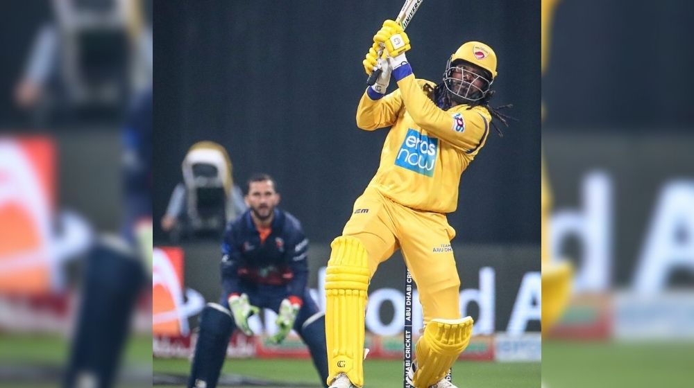 Universal Boss 'Chris Gayle' on Fire; Smashed 12-ball fifty in Abu Dhabi T-10 League