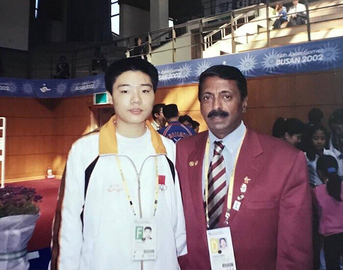 Billiards and Snooker Coach S. Jairaj with Asian billiards ace Ding Junhui