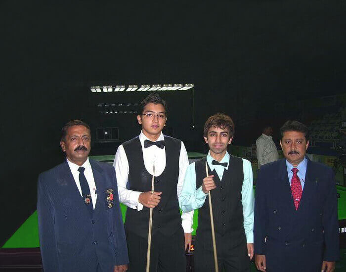 S. Jairaj with Pankaj Advani