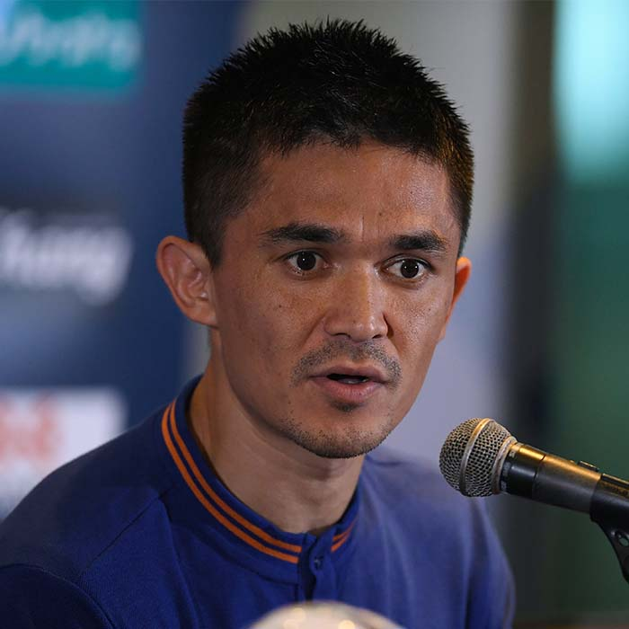 Sunil Chhetri thanking for support at the Intercontinental match