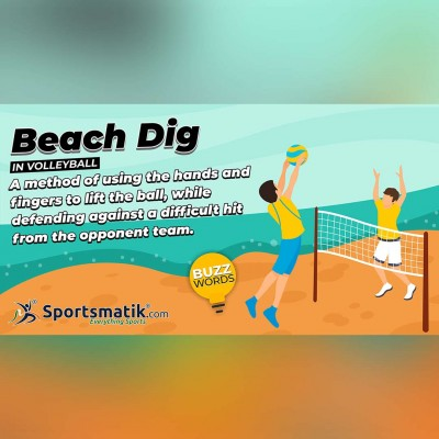 Beach dig in volleyball